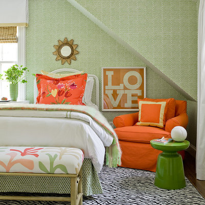 Transitional bedroom photo in Boston with multicolored walls