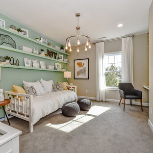 Mid-sized transitional guest carpeted and gray floor bedroom photo in Charlotte with green walls