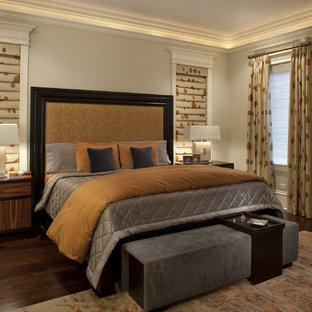 Inspiration for a contemporary master dark wood floor bedroom remodel in Chicago with beige walls