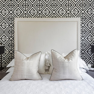 Inspiration for a medium sized contemporary master bedroom in West Midlands with grey walls and carpet.