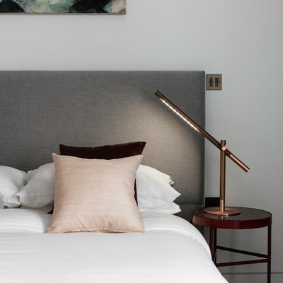 Inspiration for a large contemporary guest brown floor and light wood floor bedroom remodel in London with gray walls