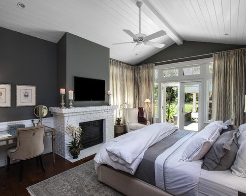 Mid Sized Transitional Master Dark Wood Floor Bedroom Photo In Los Angeles  With Gray Walls