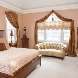 Bedroom - large traditional master carpeted and white floor bedroom idea in Boston with pink walls and no fireplace