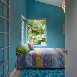 Inspiration for a mid-sized modern loft-style bedroom in Vancouver with blue walls and light hardwood floors.