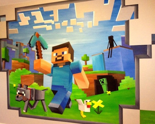 Image gallery minecraft mural for Idee deco lambris mural