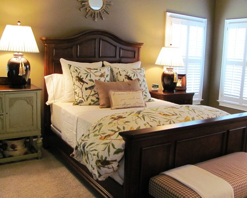 elegant master bedroom photo in atlanta with beige walls and carpet - Pottery Barn Bedroom Decorating Ideas