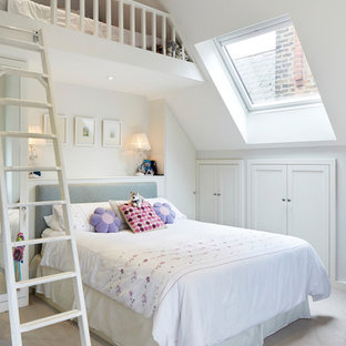 Inspiration for a classic mezzanine bedroom in London.