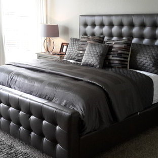 Bedroom - large shabby-chic style master carpeted bedroom idea in Dallas with gray walls
