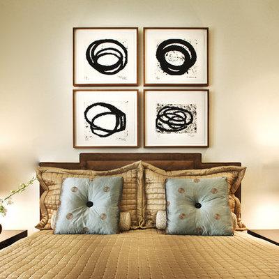 Trendy bedroom photo in Las Vegas with beige walls