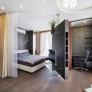 Inspiration for a small contemporary master bedroom in Yekaterinburg with black walls, medium hardwood floors and brown floor.
