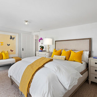Coastal Master Bedroom Photo In New York With White Walls