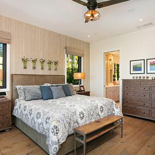 Country Dark Wood Floor And Brown Floor Bedroom Photo In San Diego With  Beige Walls