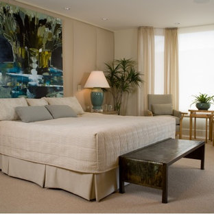 Bedroom - mid-sized contemporary master carpeted bedroom idea in San Diego with beige walls