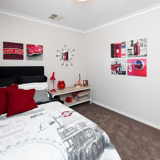 Mid-sized trendy carpeted bedroom photo in Perth with gray walls