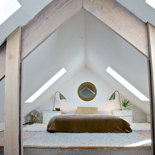 Coastal plywood floor bedroom photo in Jacksonville with white walls