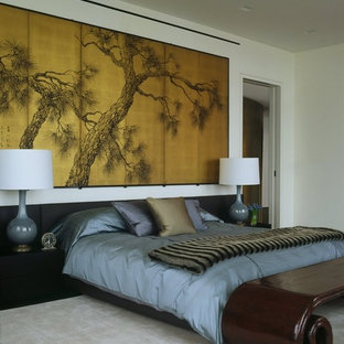 Asian bedroom in New York with white walls, carpet and no fireplace.
