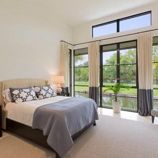 Großes Modernes Gästezimmer ohne Kamin mit weißer Wandfarbe und Kalkstein in Austin