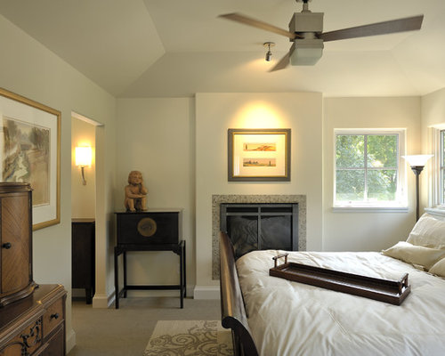 Contemporary Carpeted Bedroom Idea In Minneapolis With Beige Walls And A  Standard Fireplace
