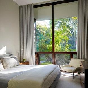 Idee per una camera da letto minimalista con pareti beige e moquette