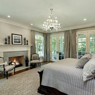 Elegant master dark wood floor bedroom photo in Chicago with gray walls, a standard fireplace and a stone fireplace