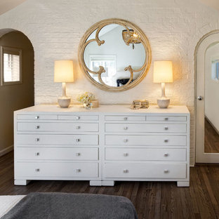 Inspiration for a transitional dark wood floor bedroom remodel in Chicago with white walls