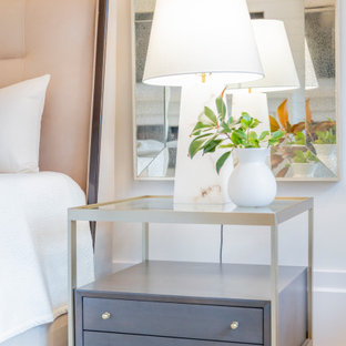 他の地域の広いビーチスタイルのおしゃれな主寝室 (白い壁、淡色無垢フローリング、標準型暖炉、塗装板張りの暖炉まわり、白い床、三角天井) のレイアウト