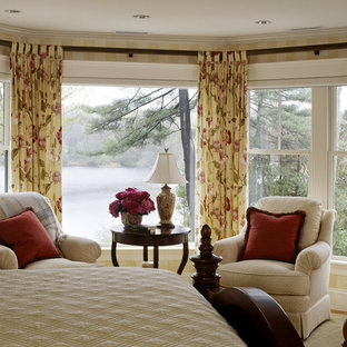 Design ideas for a traditional bedroom in Boston with multi-coloured walls.