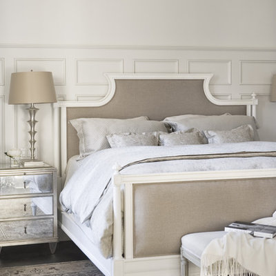 Inspiration for a large timeless master dark wood floor bedroom remodel in Other with beige walls