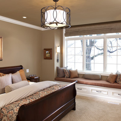 Inspiration for a timeless carpeted bedroom remodel in Minneapolis with brown walls
