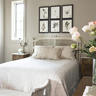 Example of a mid-sized classic guest dark wood floor bedroom design in Other with gray walls