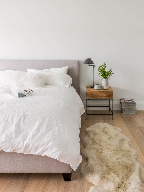 Example of a danish light wood floor bedroom design in Toronto with white  walls. Bedroom Side Table   Houzz