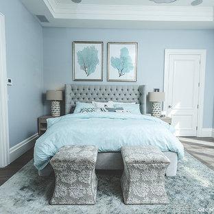 Diseño de dormitorio principal, actual, grande, con paredes azules y suelo de madera en tonos medios