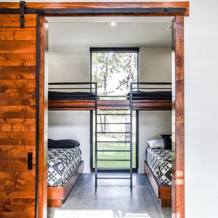 Ispirazione per una camera degli ospiti moderna di medie dimensioni con pareti bianche, pavimento in cemento e pavimento grigio