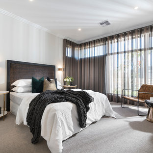 This is an example of a large contemporary master bedroom in Perth with white walls, carpet and grey floor.