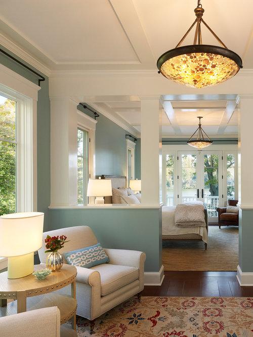 Beach Style Bedroom Ideas Part - 16: Beach Style Dark Wood Floor Bedroom Idea In DC Metro With Blue Walls
