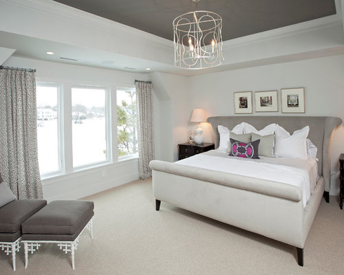 Painted tray ceiling houzz for How to paint a bedroom ceiling