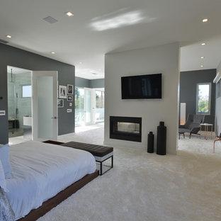 Aménagement d'une grand chambre moderne avec un mur gris, un manteau de cheminée en métal et une cheminée double-face.