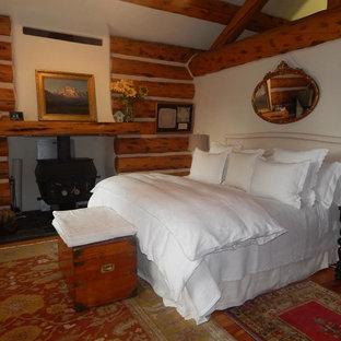 Ejemplo de dormitorio principal, rústico, de tamaño medio, con paredes blancas, suelo de madera en tonos medios, estufa de leña, marco de chimenea de metal y suelo marrón