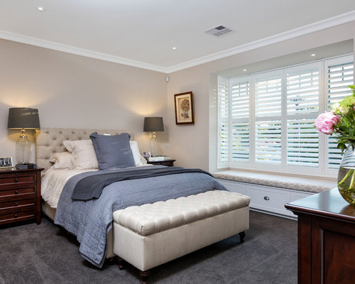 Traditional Bedroom Designs bedroom alluring black color accent in traditional bedroom with best bed close brick wall between Inspiration For A Traditional Guest Bedroom In Perth With Beige Walls Carpet And Grey Floor