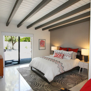 Bedroom - mid-sized 1950s master porcelain floor bedroom idea in Los Angeles with gray walls and no fireplace