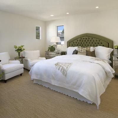 Bedroom - mediterranean carpeted bedroom idea in Santa Barbara
