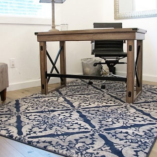 Example Of A Mid Sized Classic Guest Laminate Floor And Brown Floor Bedroom  Design In