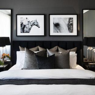 Foto de habitación de invitados actual, grande, sin chimenea, con paredes grises, suelo gris y suelo de baldosas de cerámica