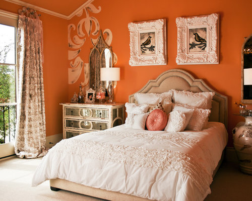 shabby chic style schlafzimmer mit oranger wandfarbe ideen design bilder houzz. Black Bedroom Furniture Sets. Home Design Ideas
