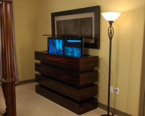 flat screen tv lift cabinets houzz. Black Bedroom Furniture Sets. Home Design Ideas