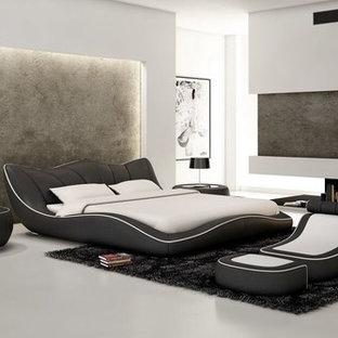 Foto de dormitorio principal, minimalista, de tamaño medio, sin chimenea, con paredes blancas, suelo de corcho y suelo gris