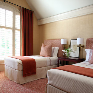 Example of a mid-sized classic guest carpeted bedroom design in Little Rock with beige walls