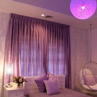 Стильный дизайн: спальня среднего размера в стиле ретро с белыми стенами и ковровым покрытием без камина - последний тренд