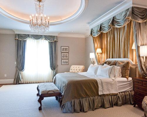traditional dark wood floor bedroom idea in nashville with beige walls