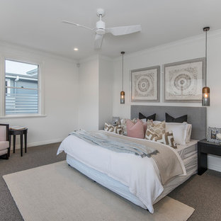 Design ideas for a transitional bedroom in Brisbane with white walls, carpet and grey floor.